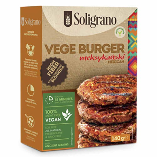 Soligrano Mexican Vege Spelt Burger with Quinoa and Red Lentils (140g)