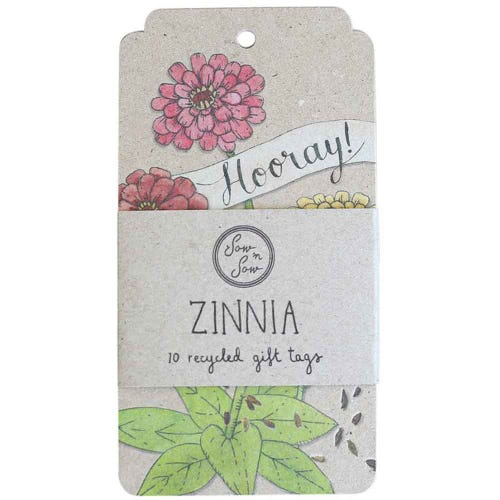 Sow n Sow Gift Tags - Hooray Zinnia (10 Pack)