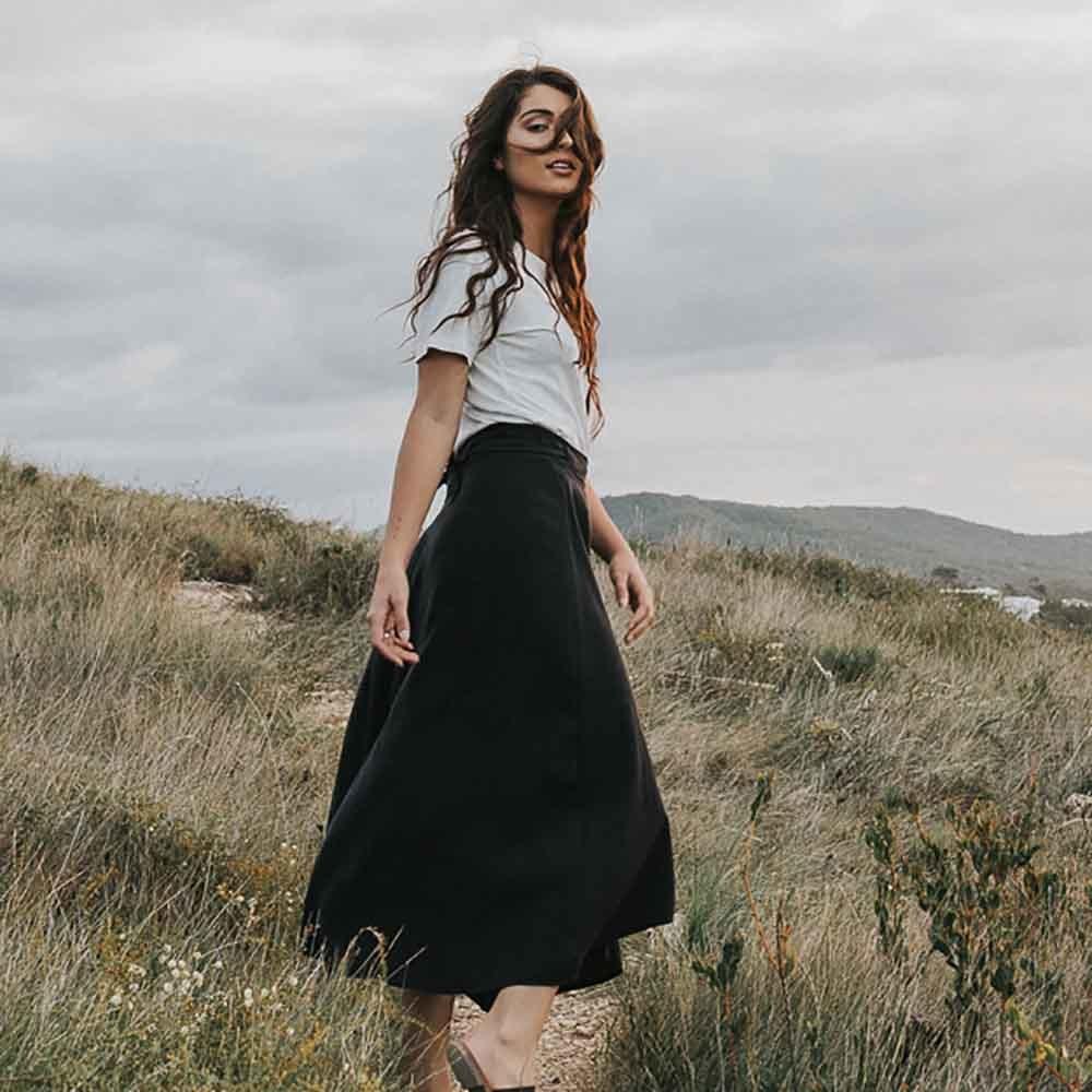 Tasi Travels Wilder Wrap Skirt Black