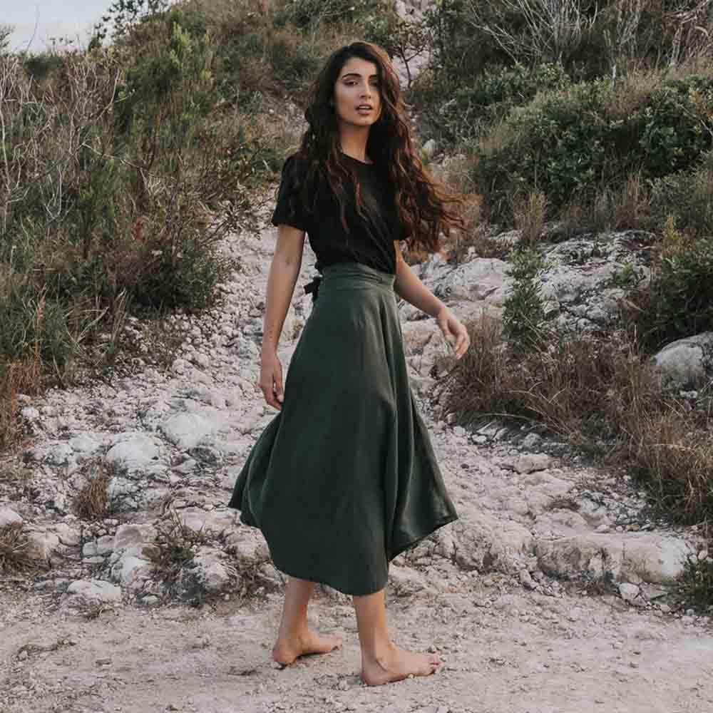 Tasi Travels Wilder Wrap Skirt Moss