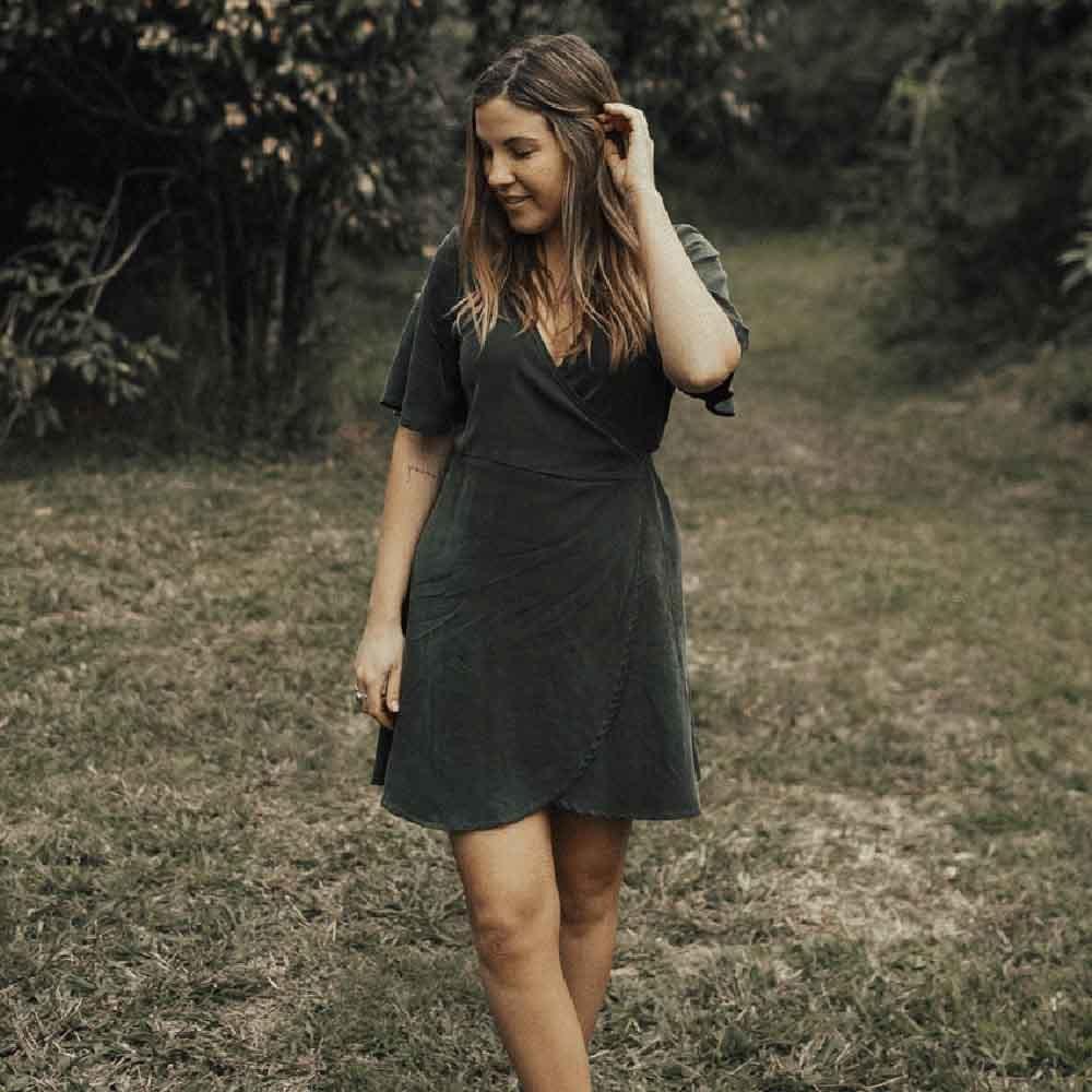 Tasi Travels Wilder Wrap Dress Moss