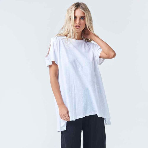 Torju Sunkissed Organic Cotton White Top