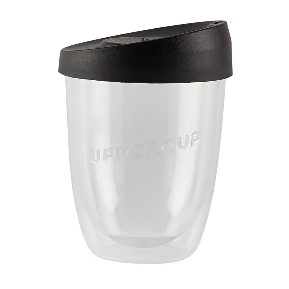 Uppercup Medium Coffee Cup Clear & Black Lid (12oz)