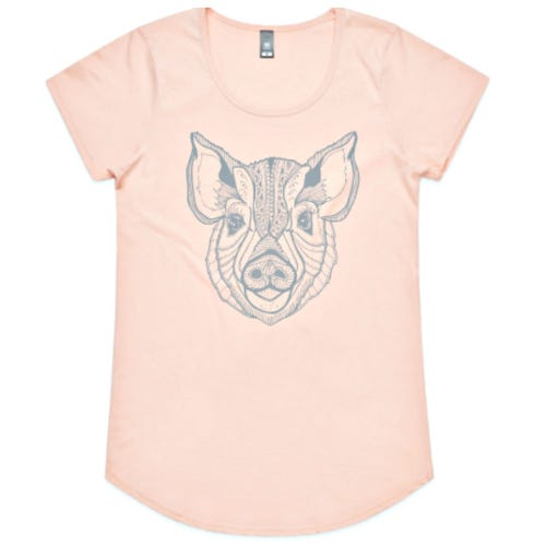 Where Pigs Fly Pink T Shirt with Bubbles - Womens