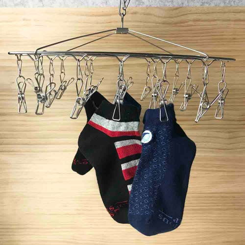 Wire Pegs Stainless Steel 19 Peg Clothes Hanger