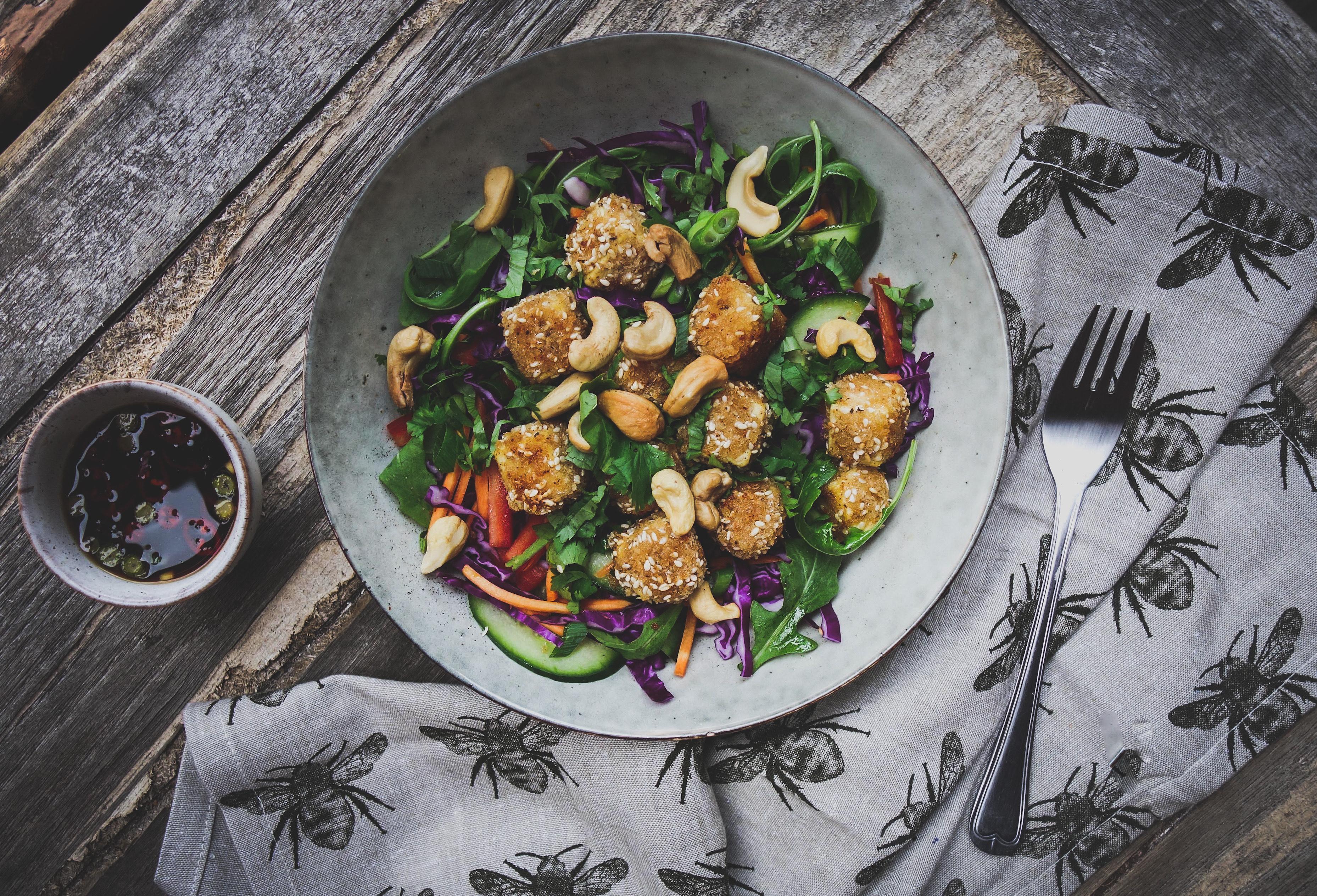 Vegan Vietnamese Rainbow Salad With Sesame Crusted Tofu