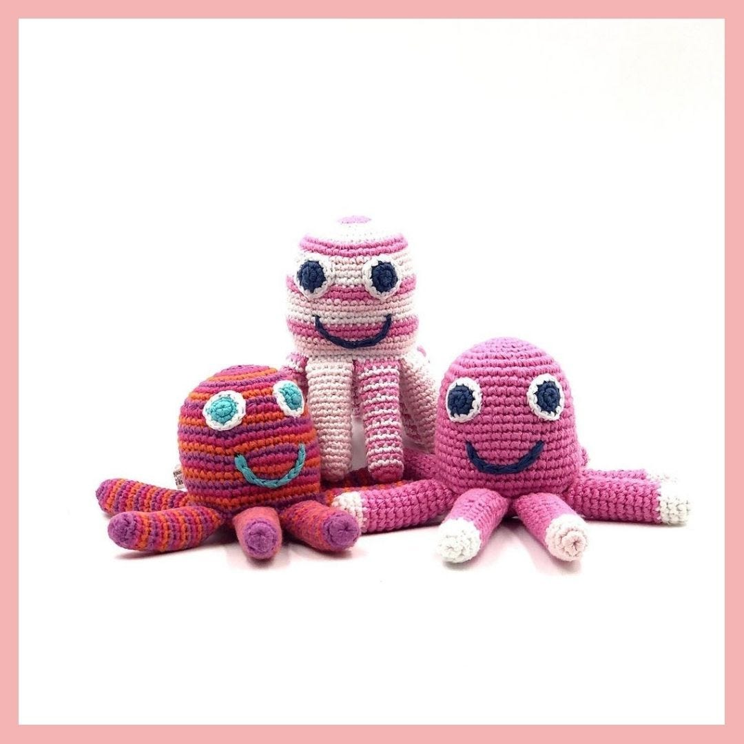 Pebble Ethical Toys - Octopus with Rattle Pale Pink