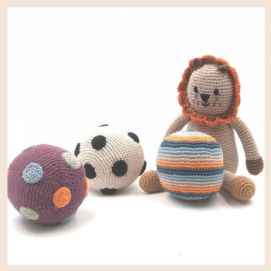 Pebble Ethical Toys - Organic Lion With Rattle