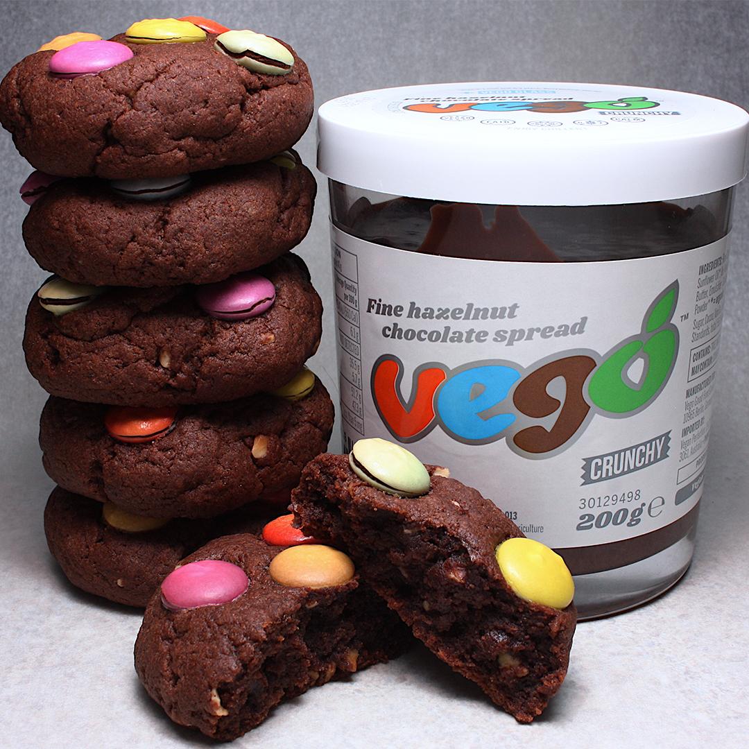 Vegan Double Chocolate Smarties Cookies