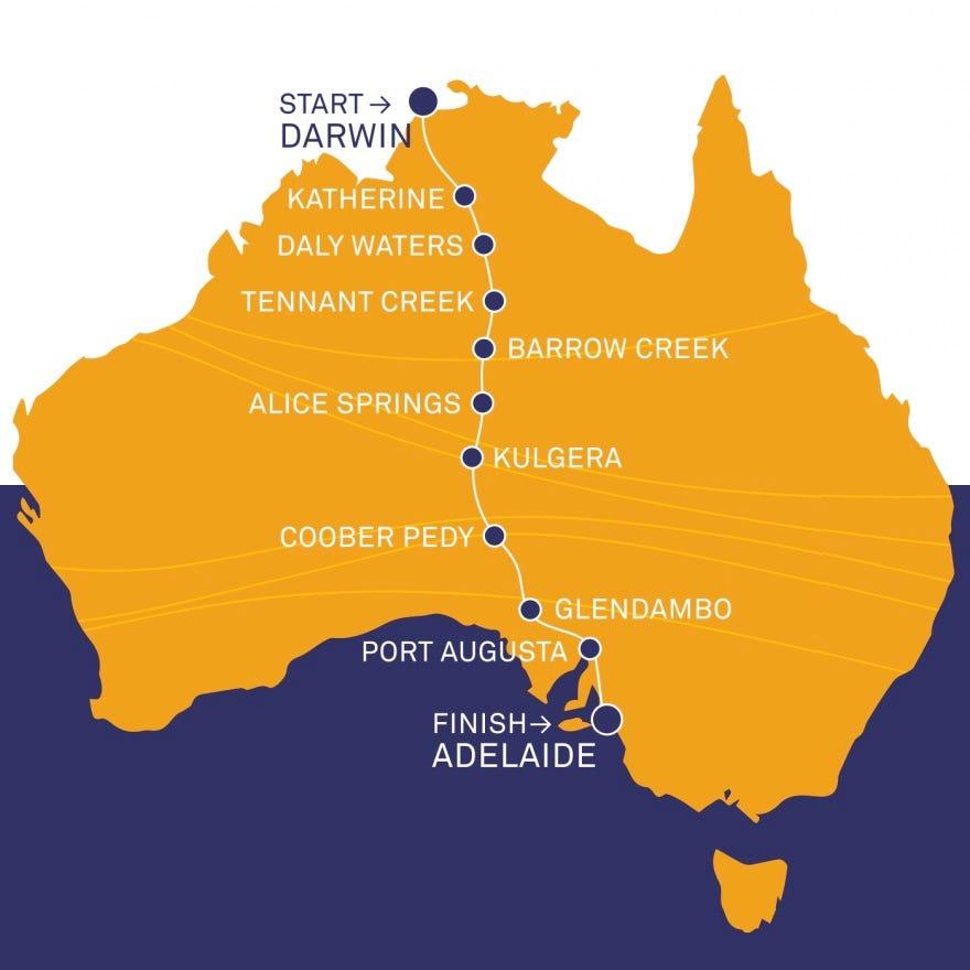 World Solar Challenge - Route Through Australia