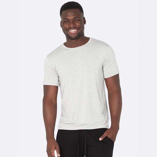 Boody Men's Crew Neck T-Shirt - Light Grey Marl