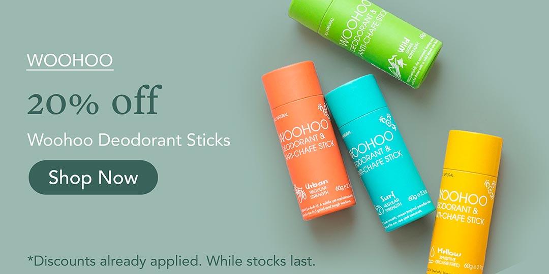 20% off Woohooo Deodorant Sticks