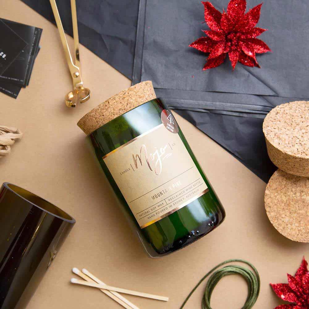 Mojo Reclaimed Wine Bottle Candle - Mountain Pine