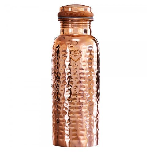Yogibeings Copper Water Bottle Hammered Polished (625ml)